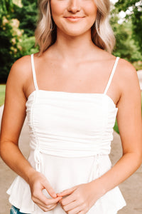 Ruched Tank Top - White