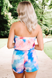 Chasing Sunsets Romper - Pink/Blue