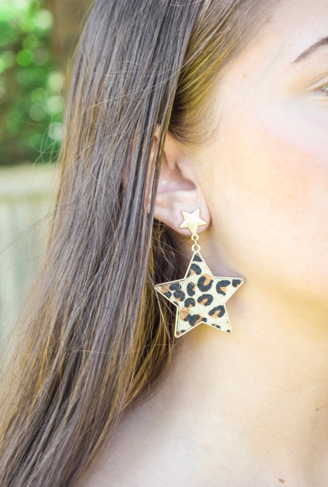 Cheetah Print Star Earrings