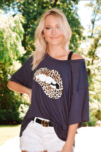 Wild Thing Graphic Top - Charcoal Grey
