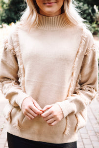 Fringed Benefits Sweater - Beige