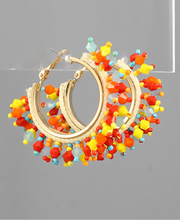 Load image into Gallery viewer, Bead Fan Multicolor Hoops