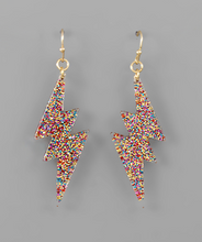 Load image into Gallery viewer, Glitter Lightning Earrings