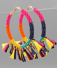 Load image into Gallery viewer, Raffia Tassel Bead Hoops