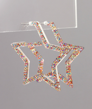Load image into Gallery viewer, Glitter Acrylic Star Hoops