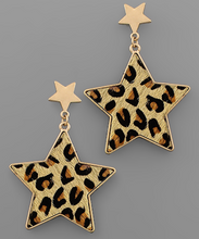 Load image into Gallery viewer, Cheetah Print Star Earrings
