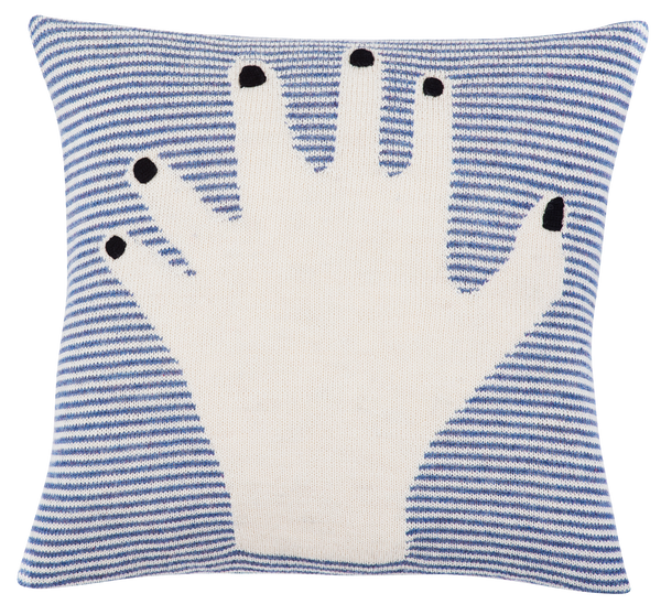 fancy finger pillow case blue