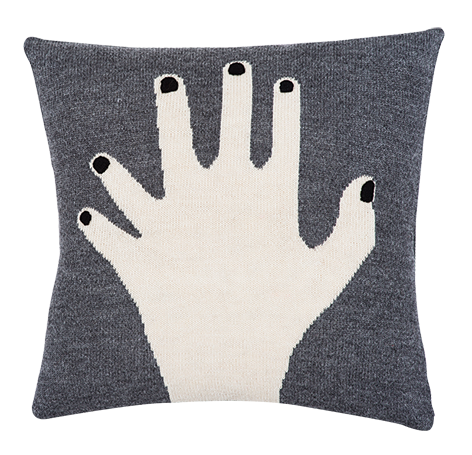 fancy finger pillow case grey
