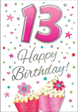 13th Birthday Card Girl