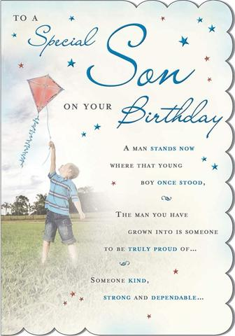 Son Birthday Card - Flying A Kite