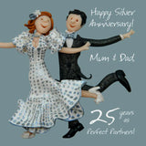 Silver Wedding Anniversary Card - MUM & DAD