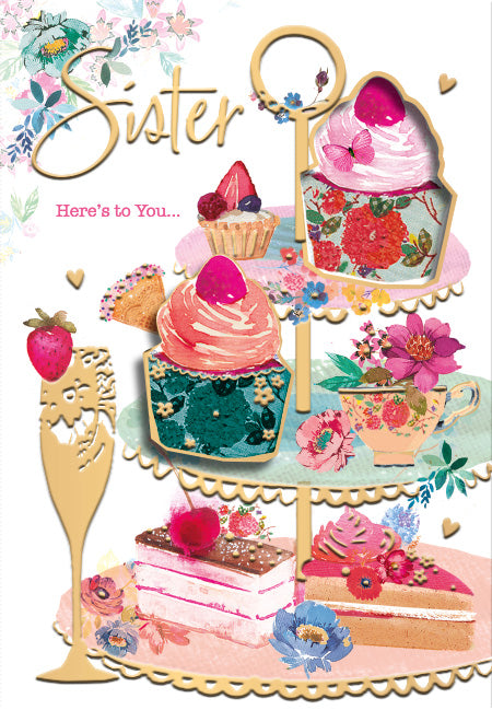 Sister Birthday Card - Cakes