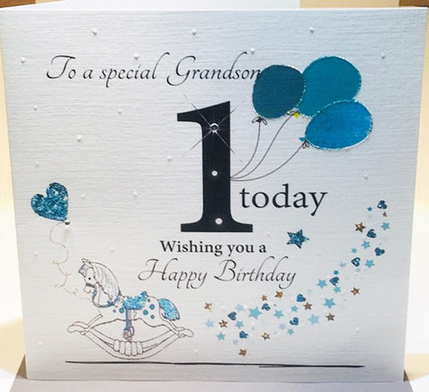 LARGE Happy 1st Birthday Card Grandson - HerbysGifts.com