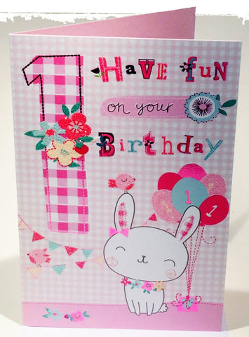 1st Birthday Card Girl - HerbysGifts.com - Cherry Orchard