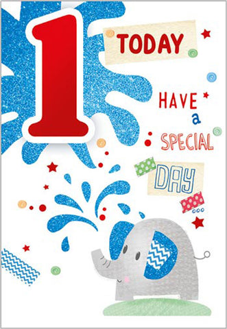 Happy 1st Birthday Card For A Boy - HerbysGifts.com
