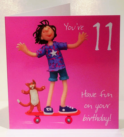 11th Birthday Card for a Girl - HerbysGifts.com