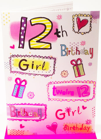 Happy 12th Birthday Card for a Girl - HerbysGifts.com