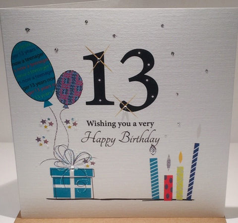 Happy 13th Birthday Card - 6 x 6 Inches - HerbysGifts.com