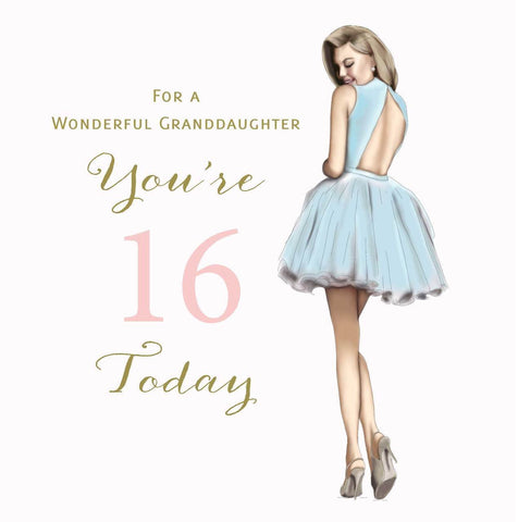 Large Happy 16th Birthday Card Granddaughter - HerbysGifts.com