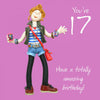 17th Birthday Card Girl - 6 x 6 Inches - HerbysGifts.com