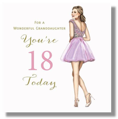 Happy 18th Birthday Card Granddaughter - HerbysGifts.com