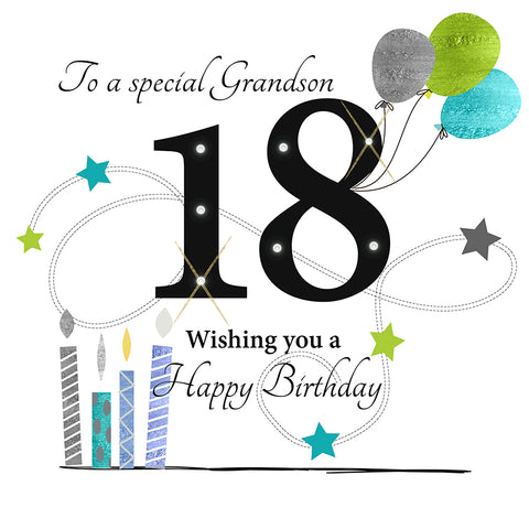 Large 18th Birthday Card Grandson - HerbysGifts.com