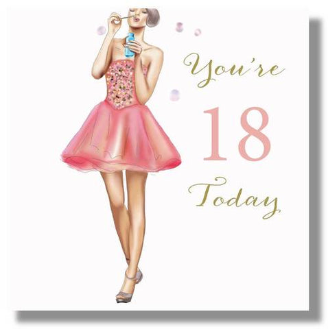 Happy 18th Birthday Card For A Girl - HerbysGifts.com