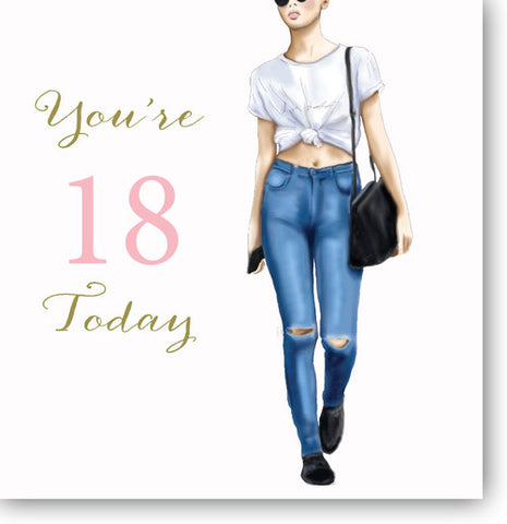Happy 18th Birthday Card For Girls  - HerbysGifts.com - 8.25 x 8.25 Inches