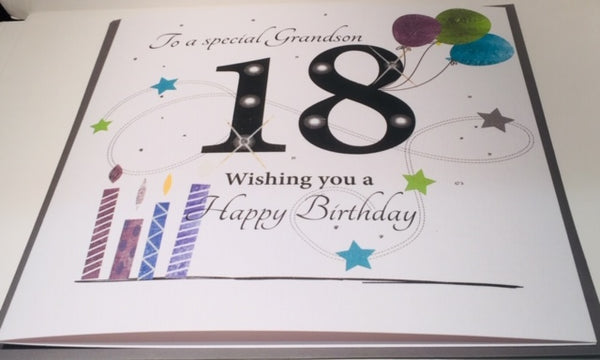 LARGE Happy 18th Birthday Card Grandson