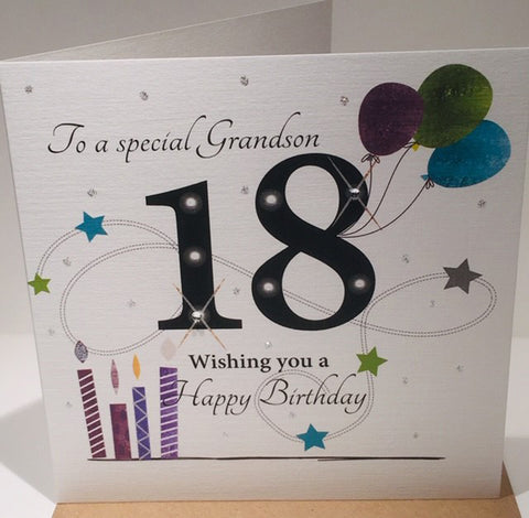 Happy 18th Birthday Card For A Special Grandson - 6 x 6 inches approx - HerbysGifts.com