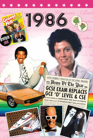 1986 Birthday or Anniversary News DVD Card from the Time of Life series-HerbysGifts.com