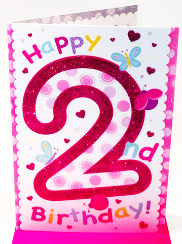 2nd Birthday Card - GIRL - HerbysGifts.com