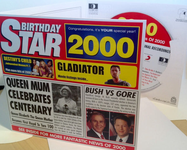 2000 birthday gift 2000 chart hits cd and 2000 greeting card 2000 birthday card and gift in one herbysgifts m4hsunfo