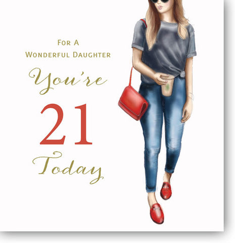 LARGE Happy 21st Birthday Card Daughter - HerbysGifts.com - 8.25 x 8.25 Inches