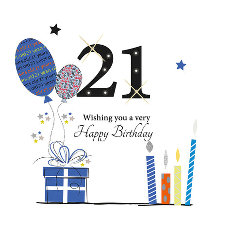 21st Birthday Card for Him - HerbysGifts.com