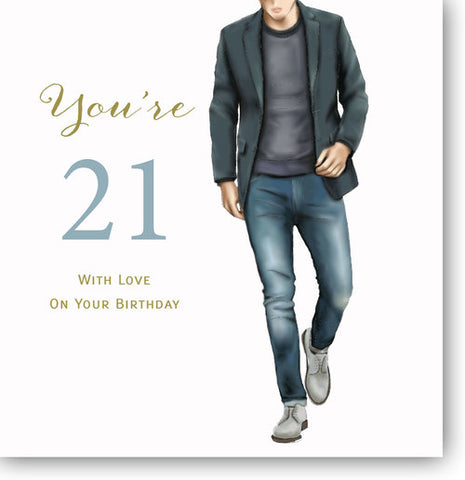 LARGE Happy 21st Birthday Card For Boys - HerbysGifts.com - 8.25 x 8.25 Inches