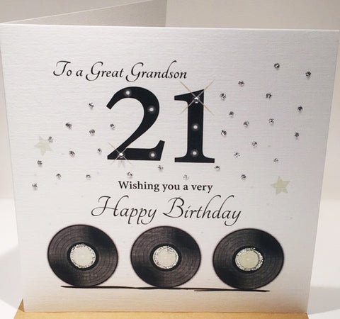 21st Birthday Card Grandson - 6 x 6 Inches - HerbysGifts.com