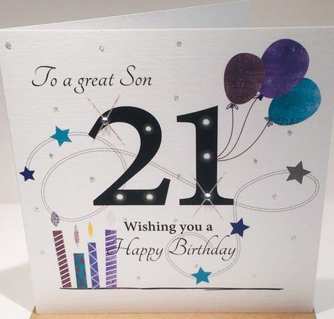 21st Birthday Card For A Son - 6 x 6 Inches - HerbysGifts.com