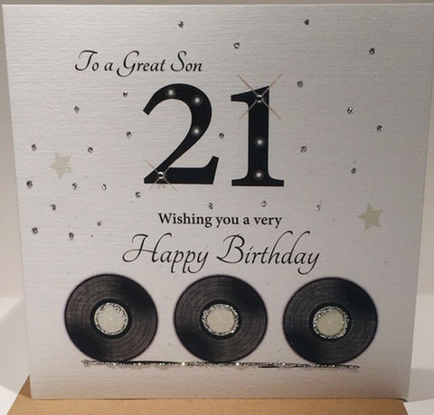 Happy 21st Birthday Card Son - 6 x 6 Inches - HerbysGifts.com