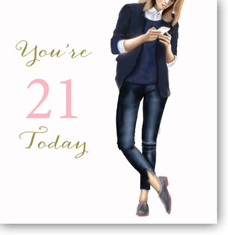 LARGE Happy 21st Birthday Card For Girls - HerbysGifts.com - 8.25 x 8.25 Inches