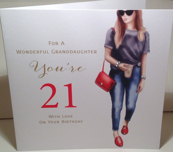 LARGE Happy 21st Birthday Card Granddaughter