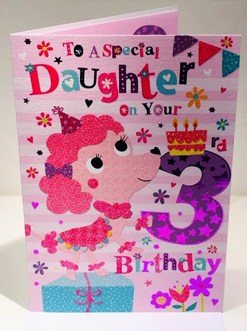 3rd Birthday Card - DAUGHTER - HerbysGifts.com