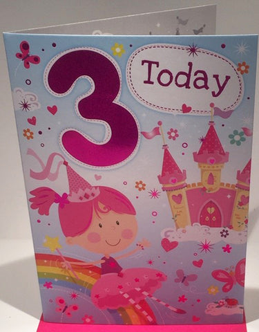 Happy 3rd Birthday Card For A Girl - 7.5 x  5.25 Inches - HerbysGifts.com