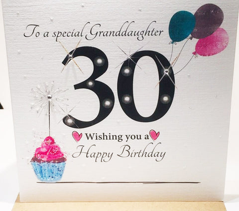 Large 30th Birthday Card Granddaughter - 8.25 x 8.25 Inches - HerbysGifts.com