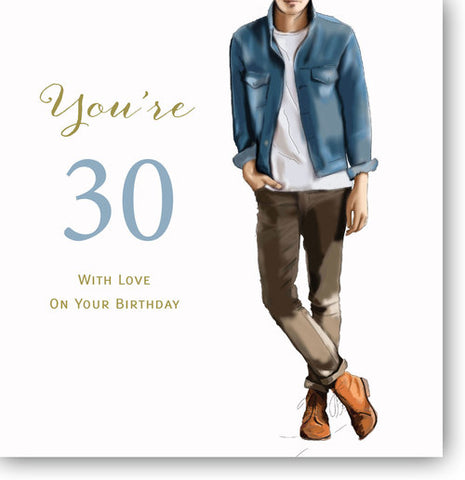 LARGE Happy 30th Birthday Card For A Man - HerbysGifts.com - 8.25 x 8.25 Inches