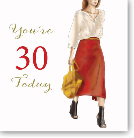 LARGE Happy 30th Birthday Card For A Young Woman - HerbysGifts.com - 8.25 x 8.25 Inches