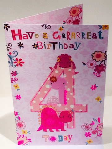 4th Birthday Card For A Girl  - HerbysGifts.com