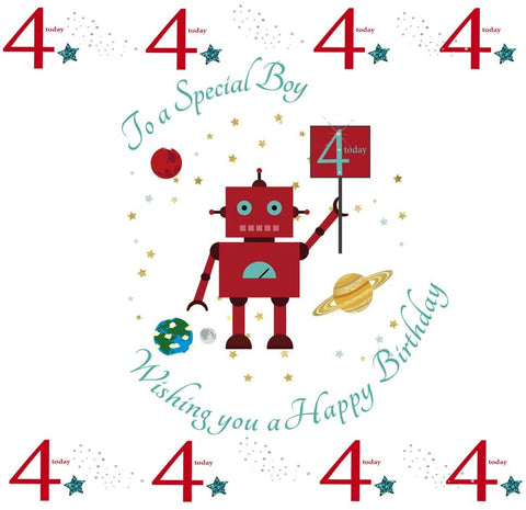 Happy 4th Birthday Card For A Boy - 7.5 x 5.25 Inches - HerbysGifts.com