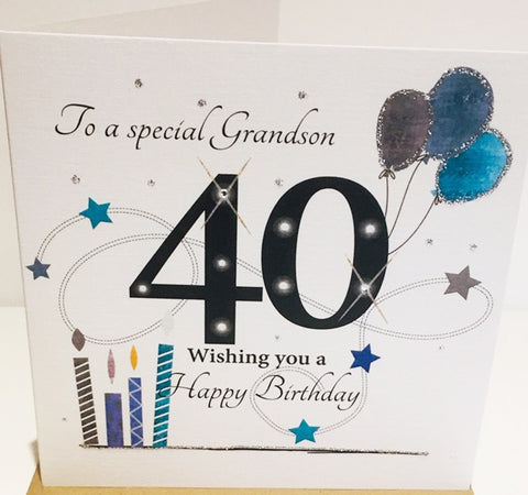 Large 40th Birthday Card Grandson - 8.25 x 8.25 Inches - HerbysGifts.com