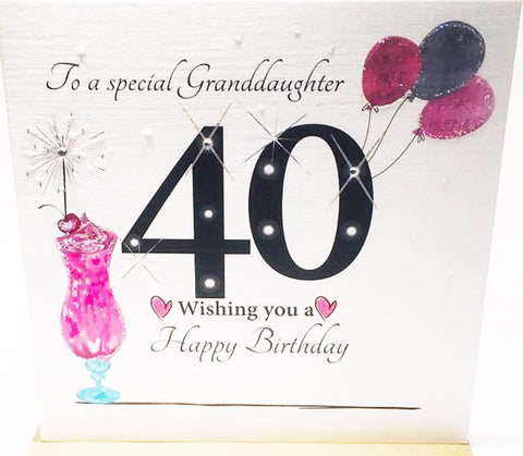 Large 40th Birthday Card Granddaughter - 8.25 x 8.25 Inches - HerbysGifts.com